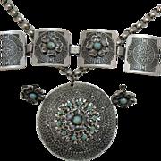 50% OFF Vintage Aluminum Eloxal Parure Aztec Design!