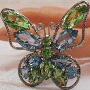 50% OFF Amazing Vintage Aqua Peridot Rhinestone Butterfly Brooch