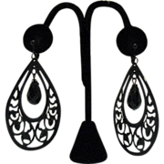 Vintage Metal Tear Drop Clip Earrings 3 ¼ Long!