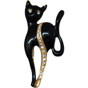 Vintage Mid Century Modern Kitty Kitty Brooch~Rhinestones & Enameling