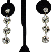 Vintage Rhinestone Orb Dangle Earrings~Amazing