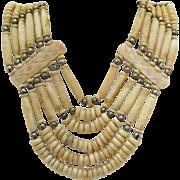 Vintage Native American Indian Buffalo Bone Sterling Necklace
