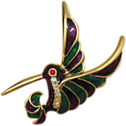 Poured Glass Vintage Rhinestone Humming Bird Brooch