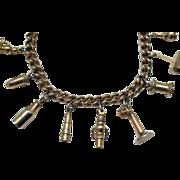 Unusual Signed Enco Vintage Charm Bracelet