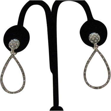 50% Off Wonderful VintageTear Drop Dangle Clip Earrings 32 Rhinestones