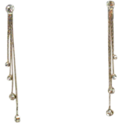 Vintage Dangle 4 Chain Rhinestone Clip Earrings