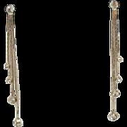 Vintage Dangle 4 Chain Rhinestone Clip Earrings