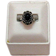 Unique Sterling Silver Vintage Onyx Ring