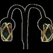50% Off Vintage Enameled Chunky Half Hoop Clip Earrings