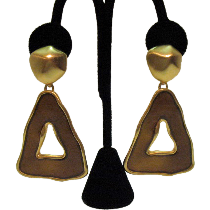 Signed Ann Klein Vintage Brushed Gold Dangle Earrings HUGE!