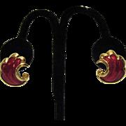 Sparkling Vintage Red Enameled Golden Pierced Earrings
