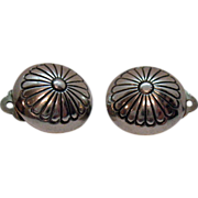 Vintage 1940s Sterling Silver Concha Clip Earrings