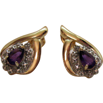 Vintage Signed DL Gold over Sterling Silver Amethyst Pierced Earrings