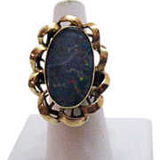 50% Off Elaborate Vintage Doublet Opal 10K Gold Ring~Hand Crafted 1960s