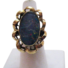Elaborate Vintage Doublet Opal 10K Gold Ring~Hand Crafted 1960s