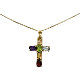 Vintage Italian 925 Gilt Gemstone Cross Pendant Necklace
