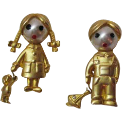 50% Off Vintage Unsigned Stern Paris Figural Boy and Girl Charm Brooches