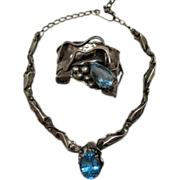Couture Vintage Sterling Silver Genuine Blue Topaz Necklace Bracelet Set 106 grams