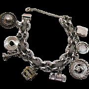Amazing Vintage 1967 Sterling Silver Charm Bracelet Bracelet Unusual 50.7 Grams