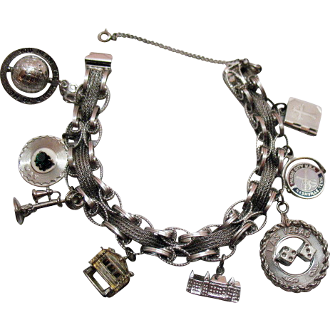 50% OFF Amazing Vintage 1967 Sterling Silver Charm Bracelet Bracelet Unusual 50.7 Grams