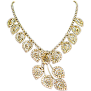 Gorgeous Vintage Rhinestone Leaf Necklace Earrings Set
