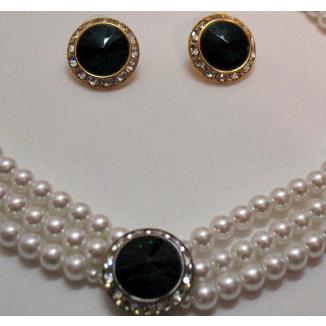 Vintage Rivoli Rhinestone Faux Pearl Necklace Pierced Earrings