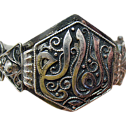 Antique Arabic Calligraphy Silver Hinged Bracelet