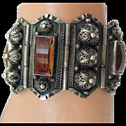 Antique Middle Eastern Amber Sterling Bracelet