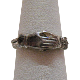 Antique Edwardian Betrothal Fede Gimmal Articulated Hand Ring Sterling Silver