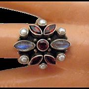 Vintage Estate Retired Nicky Butler Gemstone Sterling Silver Ring
