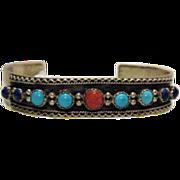 Vintage RB Navajo American Indian Sterling Cuff Bracelet