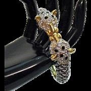 Vintage Rhinestone Kissing Lioness Bracelet