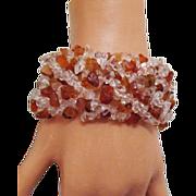 Signed DTR Amber & Rock Crystal Quarts Bracelet