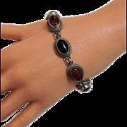 Vintage BA Suarti Bali Amber Onyx Sterling Bracelet