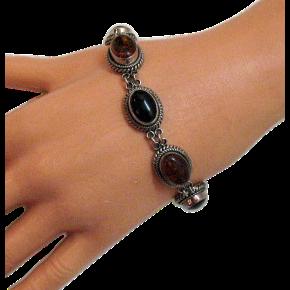 50% OFF Signed BA Suarti Bali Vintage Baltic Amber Onyx Sterling Bracelet