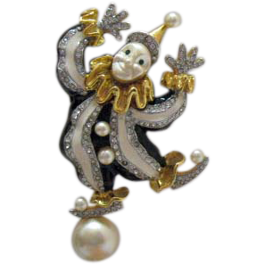 Signed KJL Kenneth Jay Lane Vintage Circus Balancing Clown Brooch Pin