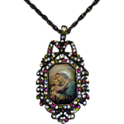 Retired Vintage Signed Nicky Butler Mary Jesus Pendant Necklace Unworn Original Box