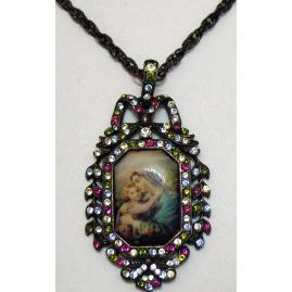 50% OFF Retired Vintage Signed Nicky Butler Mary Jesus Pendant Necklace Unworn Original Box