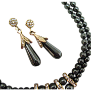 Vintage Hematite Beaded & Rhinestone Necklace & Earrings Set
