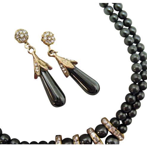 Vintage Hematite Beaded Rhinestone Necklace Earrings Set