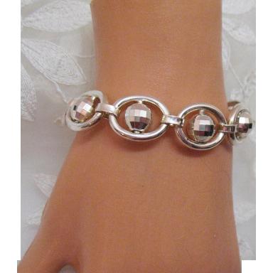 Unique Vintage Sterling Silver Disco Ball Italian Made Bracelet