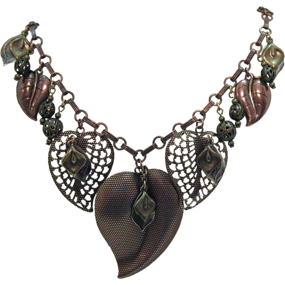 Fun Vintage Copper Charm Heart Necklace Signed 1928