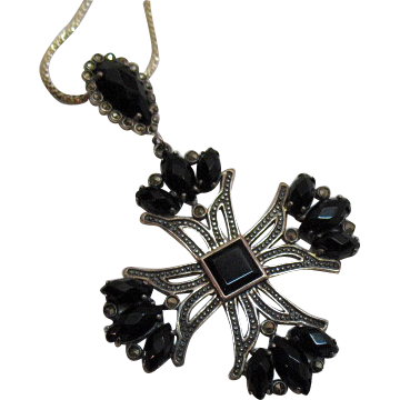 Vintage Maltese Cross Onyx Sterling Marcasite Pendant Necklace