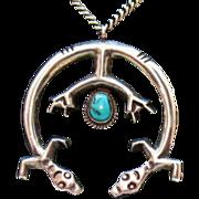 Unusual Vintage Navajo Indian Double Naja Yeis Pendant Necklace~Sterling