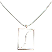 Awesome Vintage Mid Century Silver Pendant Necklace