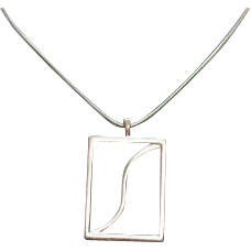 50% Off Awesome Vintage Mid Century Silver Pendant Necklace