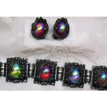 Mesmerizing Vintage Signed Judy Lee Queen Carol 1960 Bracelet Earrings Set