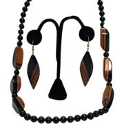 Vintage Modernistic Laminated Wood Necklace Pierced Earrings