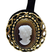 Bold Vintage Butterscotch Cameo Clip Earrings