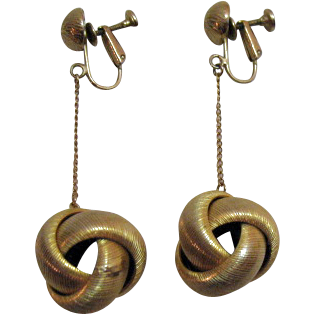 Vintage Signed Les Bernard Golden Orb Dangle Clip Earrings